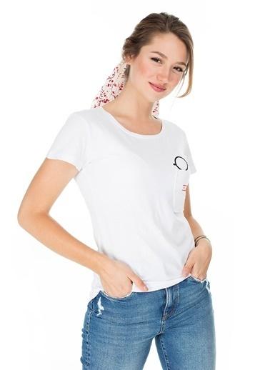 Lela Lela Bisiklet Yaka Kadın T Shirt 5411036HP Beyaz